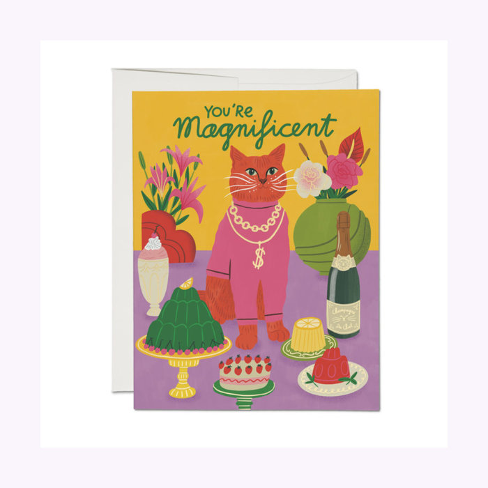 Red Cap Cards Magnificent Cat Friendship Card