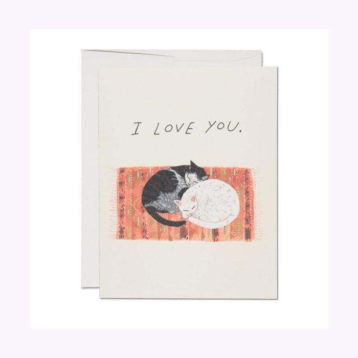 Red Cap Cards Cat Cuddle Card