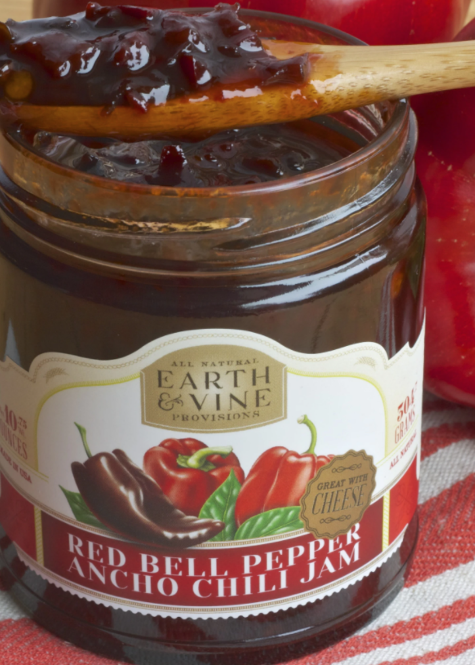 Earth & Vine Provisions, Inc. 10oz RED BELL PEPPER & ANCHO CHILI JAM