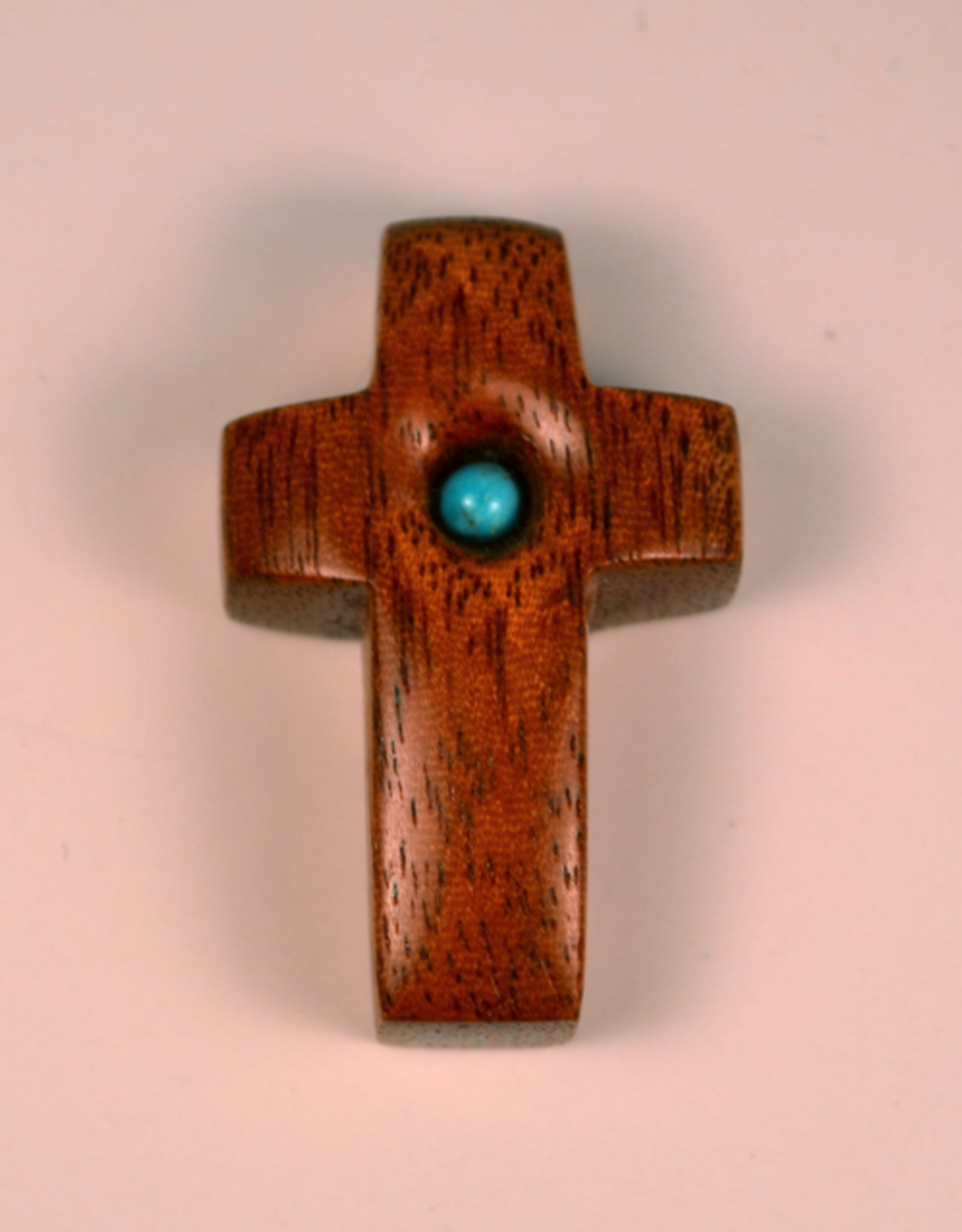 "Merry Crosses 1 1/2"" Merry Hand Crafted Butter Nut Barrel Pocket Cross with Turquoise"