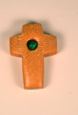 "Merry Crosses 1 1/2"" Merry Hand Crafted Maple Barrel Pocket Cross with Turquoise"