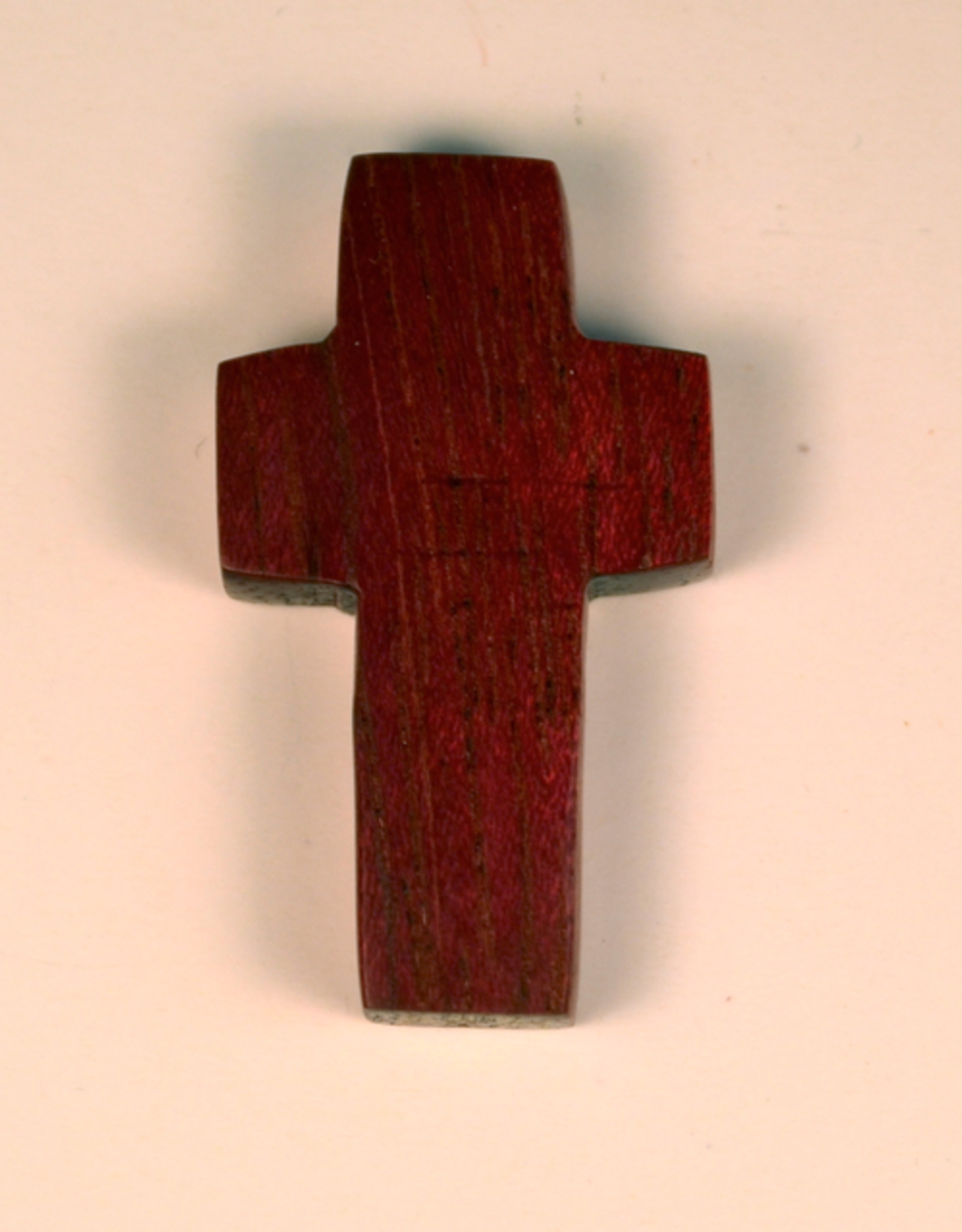 "Merry Crosses 1 1/2"" Merry Hand Crafted Purple Heart Wood Flat Pocket Cross"