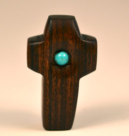 "Merry Crosses 1 1/2"" Merry Hand Crafted Walnut Barrel Pocket Cross with Turquoise"