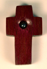 """Merry Crosses 1 1/2"""" Merry Hand Crafted Purple Heart Flat Pocket Cross with Hematite"""