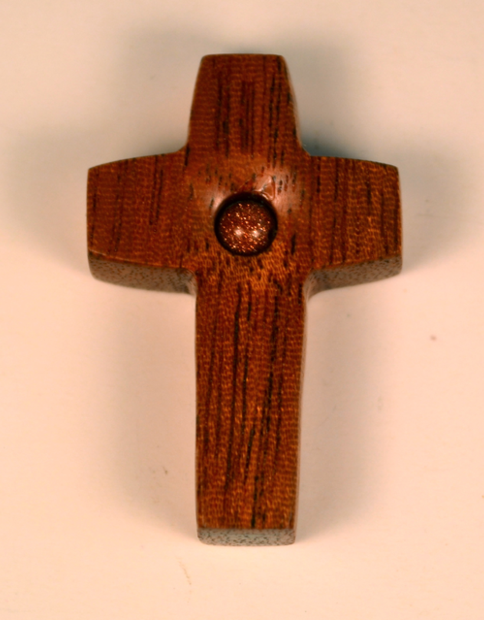 """Merry Crosses 1 1/2"""" Merry Hand Crafted Butter Nut Flat Pocket Cross with Gold Stone"""