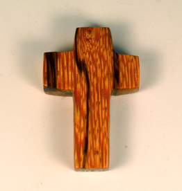 """Merry Crosses 1 1/2"""" Merry Hand Crafted Palm Wood Flat Pocket Cross"""