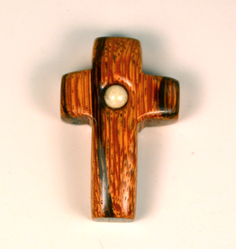 "Merry Crosses 1 1/2"" Merry Hand Crafted Palm Wood Barrel Pocket Cross with River Stone"