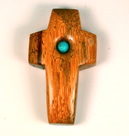 "Merry Crosses 1 1/2"" Merry Hand Crafted Palm Wood Barrel Pocket Cross with Turquoise"