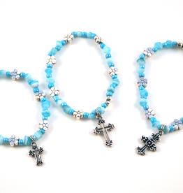 """Credo Catholic 7 1/2"""" Credo Catholic Stretch Chord Bracelet with Cross"""