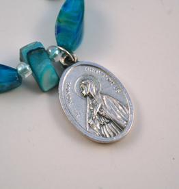 """Credo Catholic 7 1/2"""" Credo Catholic Stretch Chord Bracelet with St. Monica Medal"""