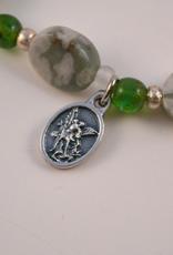 """Credo Catholic 7 1/2"""" Credo Catholic Stretch Chord Bracelet with St. Michael Medal"""