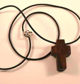 """Merry Crosses 24"""" Merry Hand Crafted 1 1/2"""" Cocobolo Cross Necklace"""