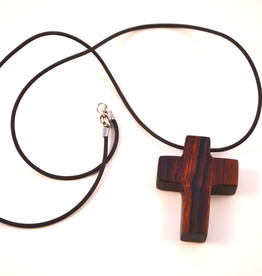 """Merry Crosses 24"""" Merry Hand Crafted 2"""" Cocobolo Cross Necklace"""