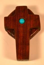 """Merry Crosses 4"""" Merry Hand Crafted Aromatic Cedar Celtic Desk Cross with Turquoise"""