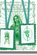 WJ Hirten Green Scapular with Instruction Pamphlet  2""