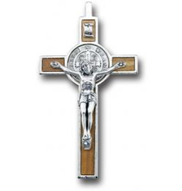 """WJ Hirten Wood Inlay Nickel Bound St. Benedict Cross 3.5"""""""