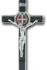 WJ Hirten Enameled St. Benedict Cross with Antique Silver Corpus and Medal 8""