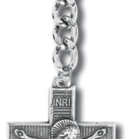 WJ Hirten Key Ring-Antique Silver Crucifix