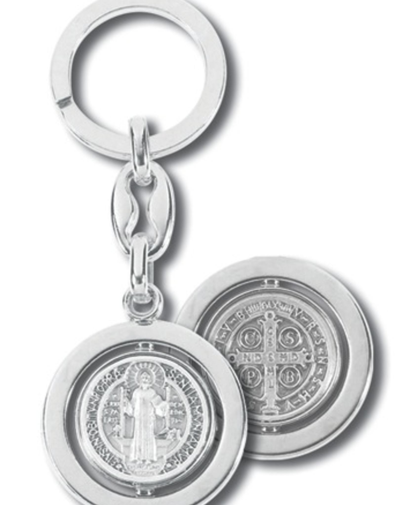 WJ Hirten Key Ring-Silver Plated Swivel St. Benedict