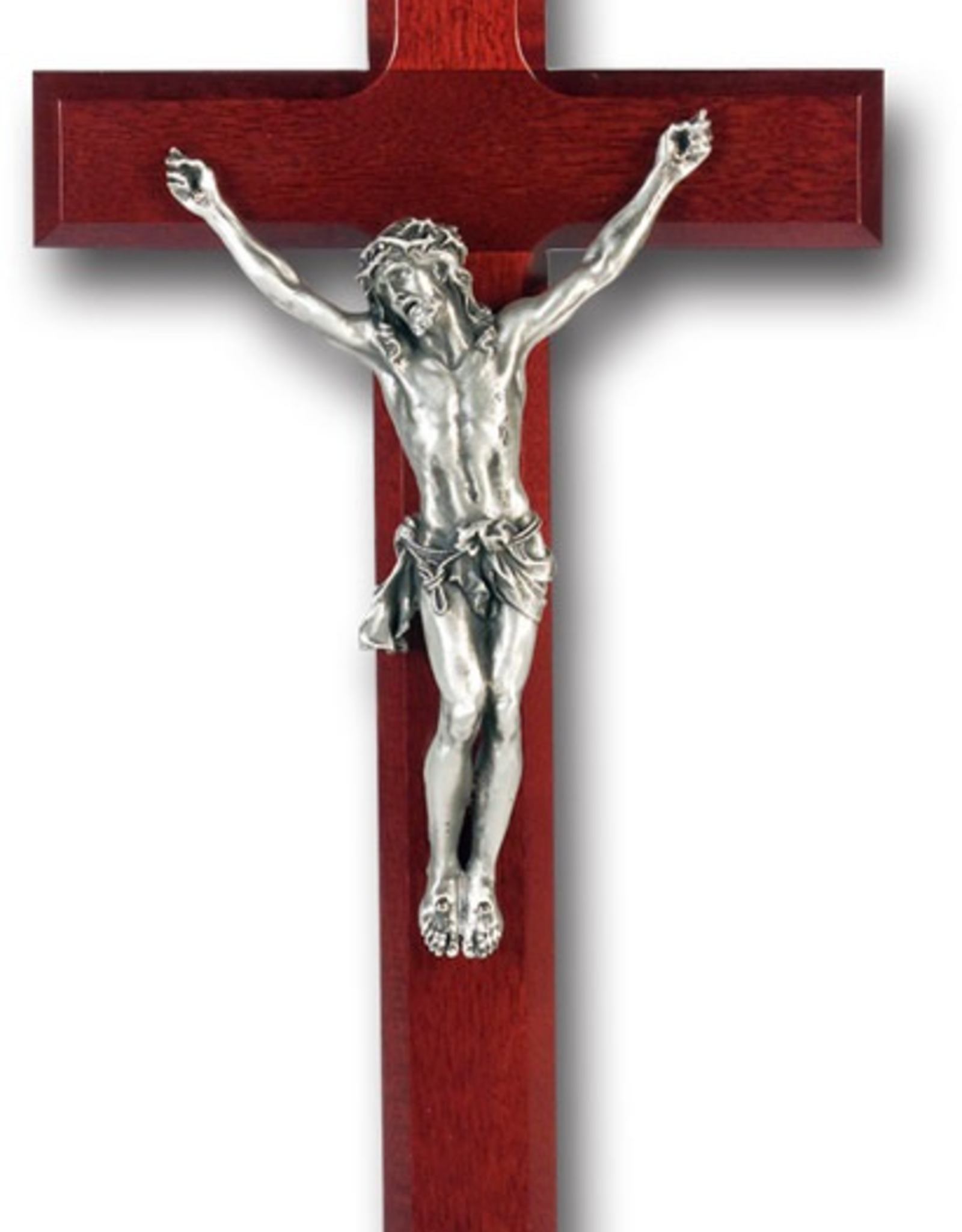 "WJ Hirten Dark Cherry Cross Antique Silver Plated Corpus 12"""