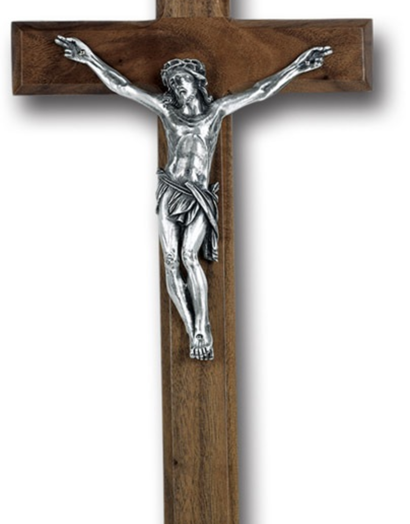 "WJ Hirten Walnut Cross Antique Silver Plated Corpus 12"""