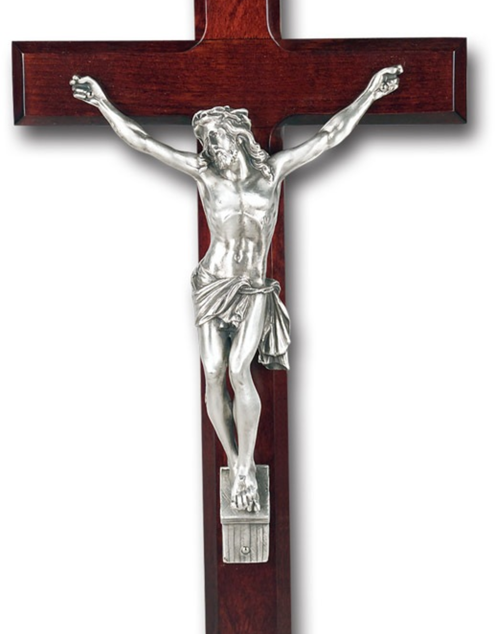 "WJ Hirten Dark Cherry Cross Antique Silver Corpus 13"""