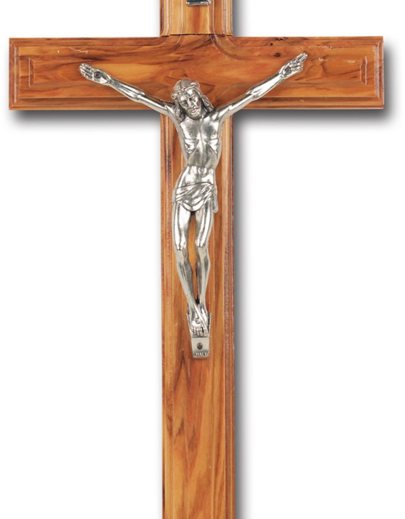 """WJ Hirten Beveled Olive Wood Cross with Antique Silver Plated Corpus 10"""""""