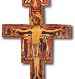 WJ Hirten San Damiano Cross on Wood 14""