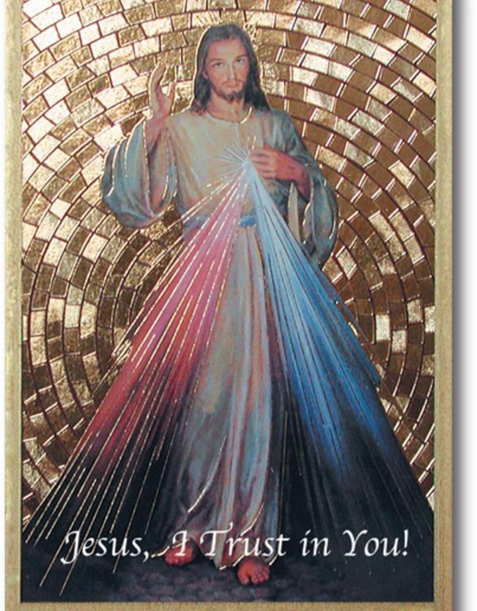 """WJ Hirten Divine Mercy Gold Foil Mosaic Plaque 4x6"""" (icon)"""