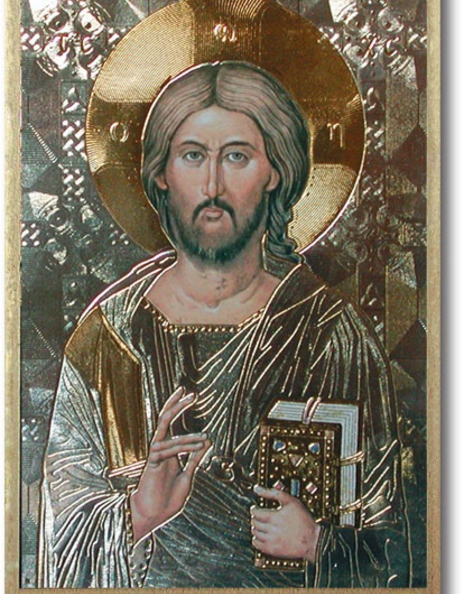 """WJ Hirten Christ the All Knowing Gold Foil Mosaic Plaque 4x6"""" (icon)"""