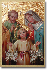 "WJ Hirten Holy Family Gold Foil Mosaic Plaque 4x6"" (icon)"