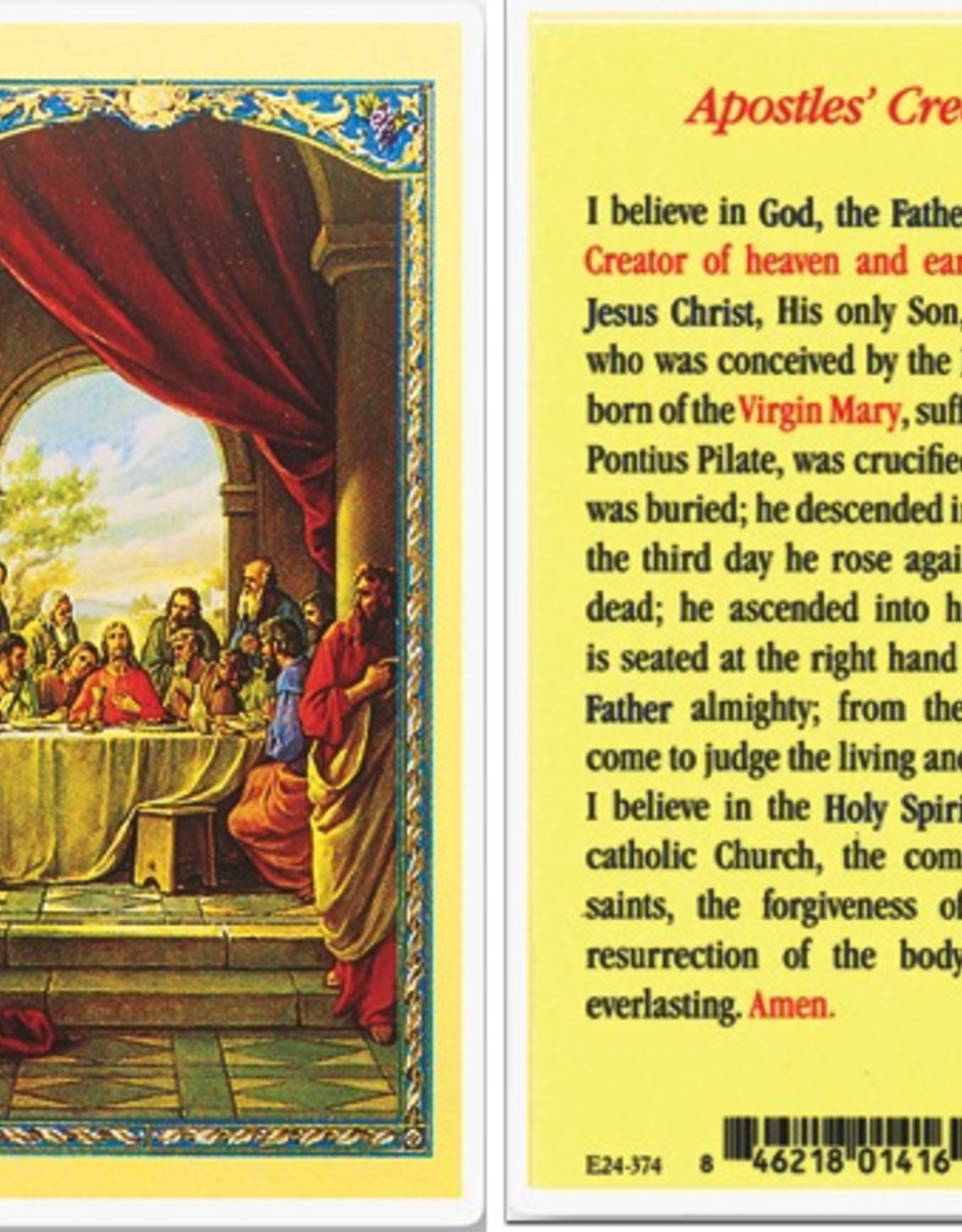 WJ Hirten Apostles' Creed Holy Cards (25/pk)