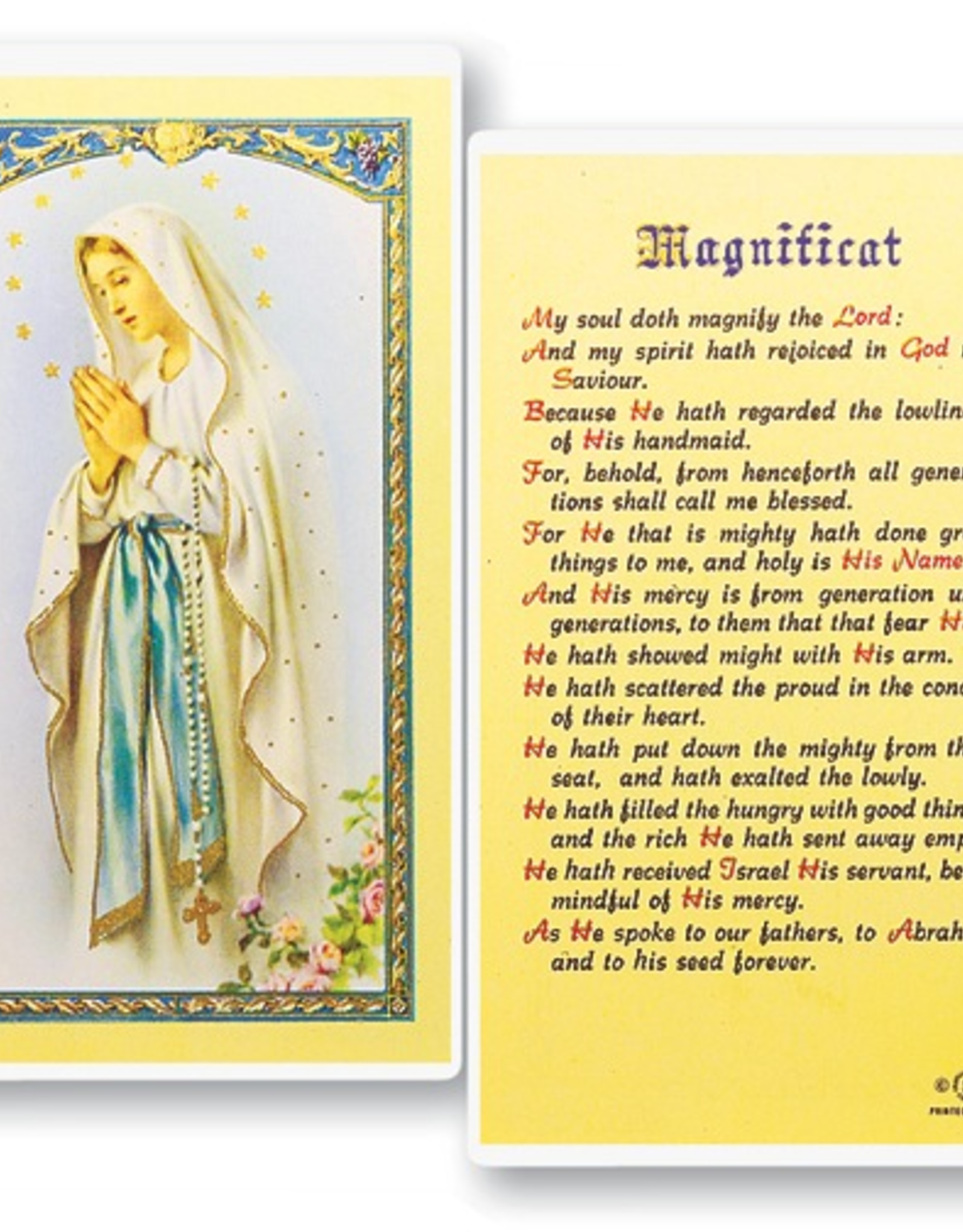 WJ Hirten Magnificat ( Our Lady of Lourdes) Holy Cards (25/pk)