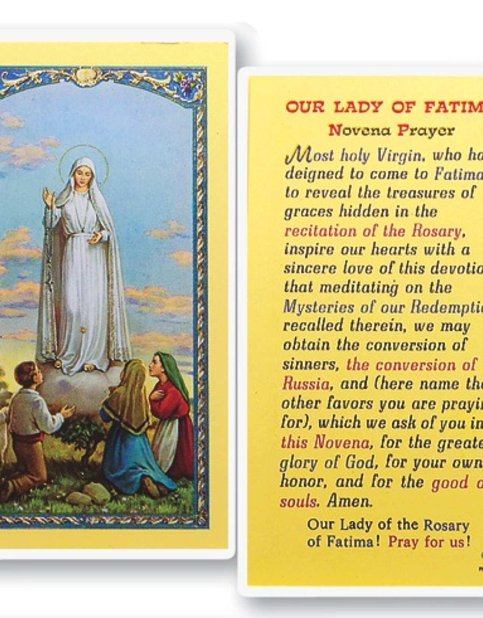 WJ Hirten Our Lady of Fatima ( Novena Prayer) Holy Cards (25/pk)