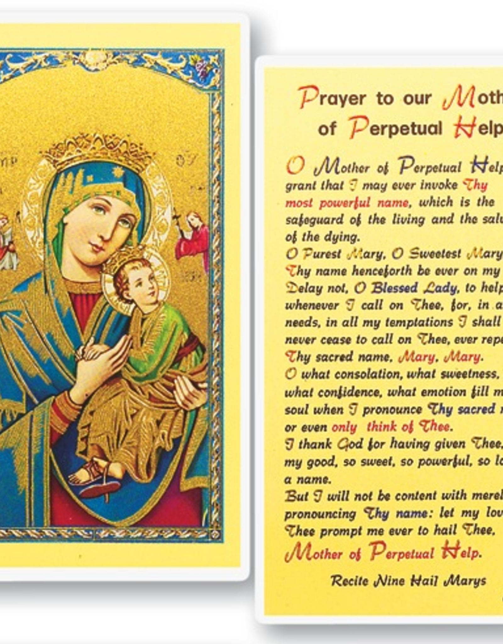 WJ Hirten Our Lady of Perpetual Help (Prayer to our Mother of Perpetual Help) Holy Cards (25/pk)
