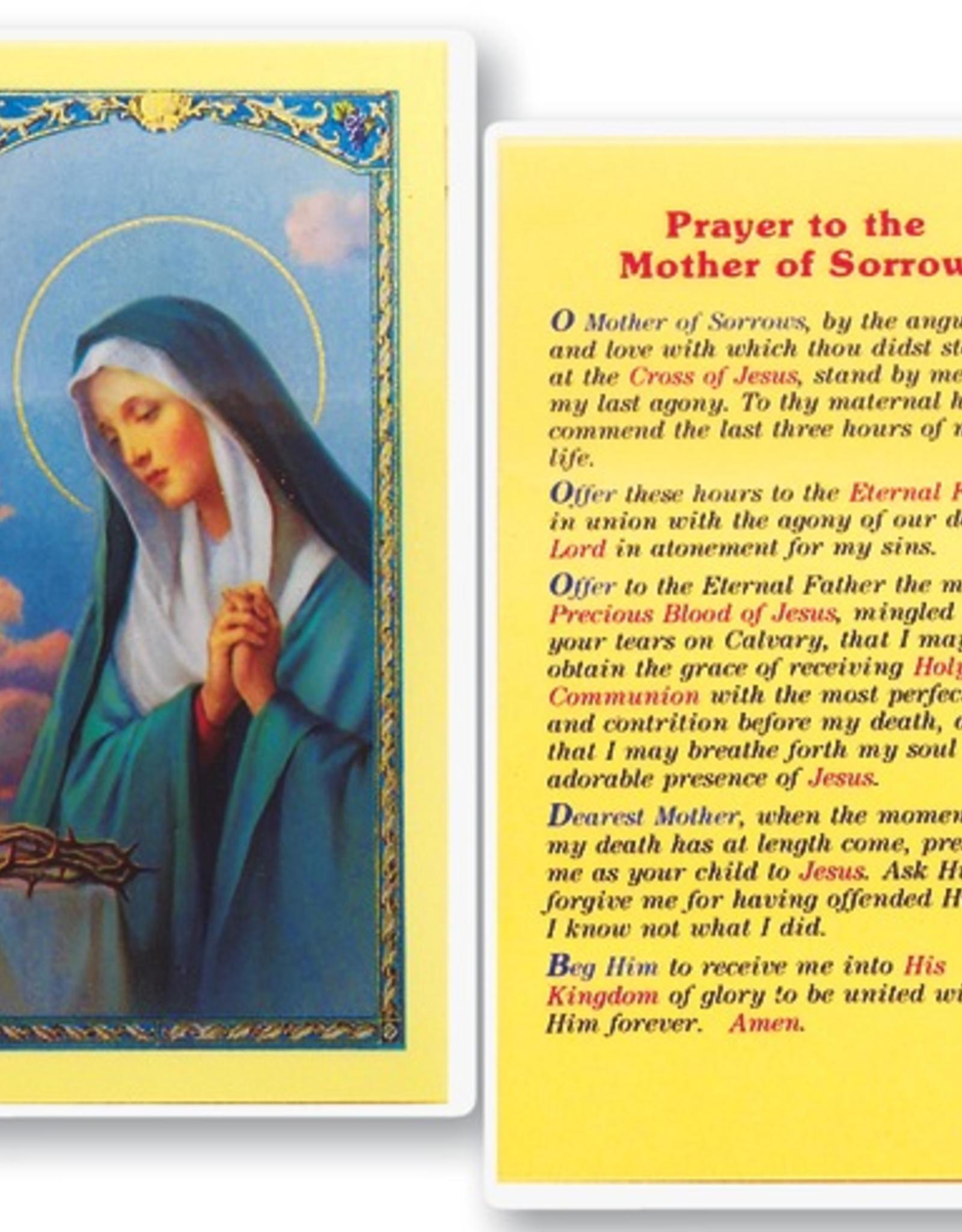 WJ Hirten Mother of Sorrow Holy Cards (25/pk)