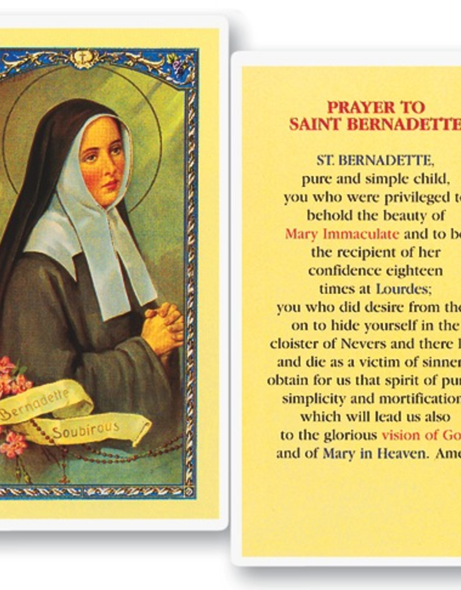WJ Hirten St. Bernadette Holy Cards (25/pk)