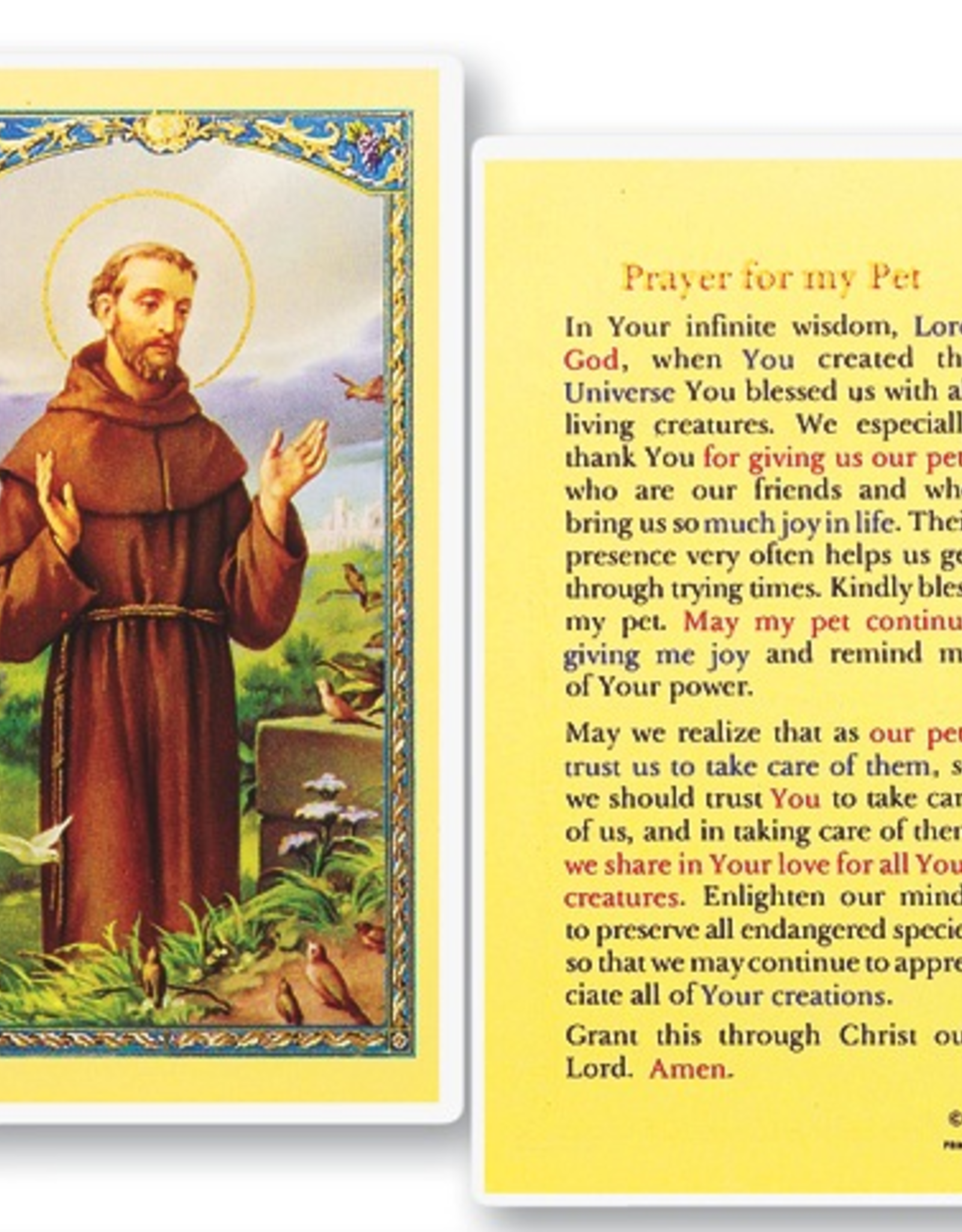 WJ Hirten St. Francis of Assisi (Prayer for my Pet) Holy Cards (25/pk)