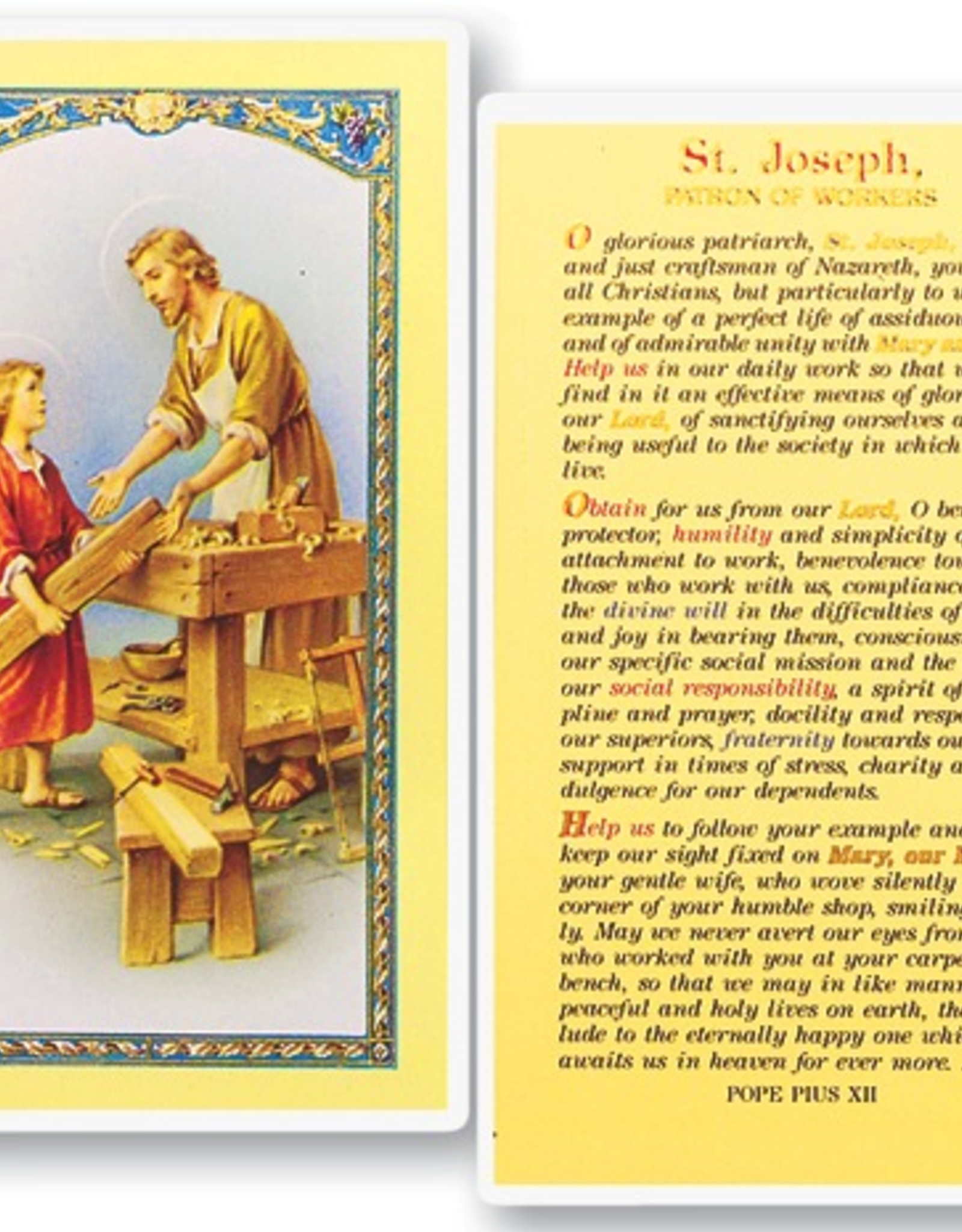 WJ Hirten St. Joseph The Worker - Patron of Workers Holy Cards (25/pk)
