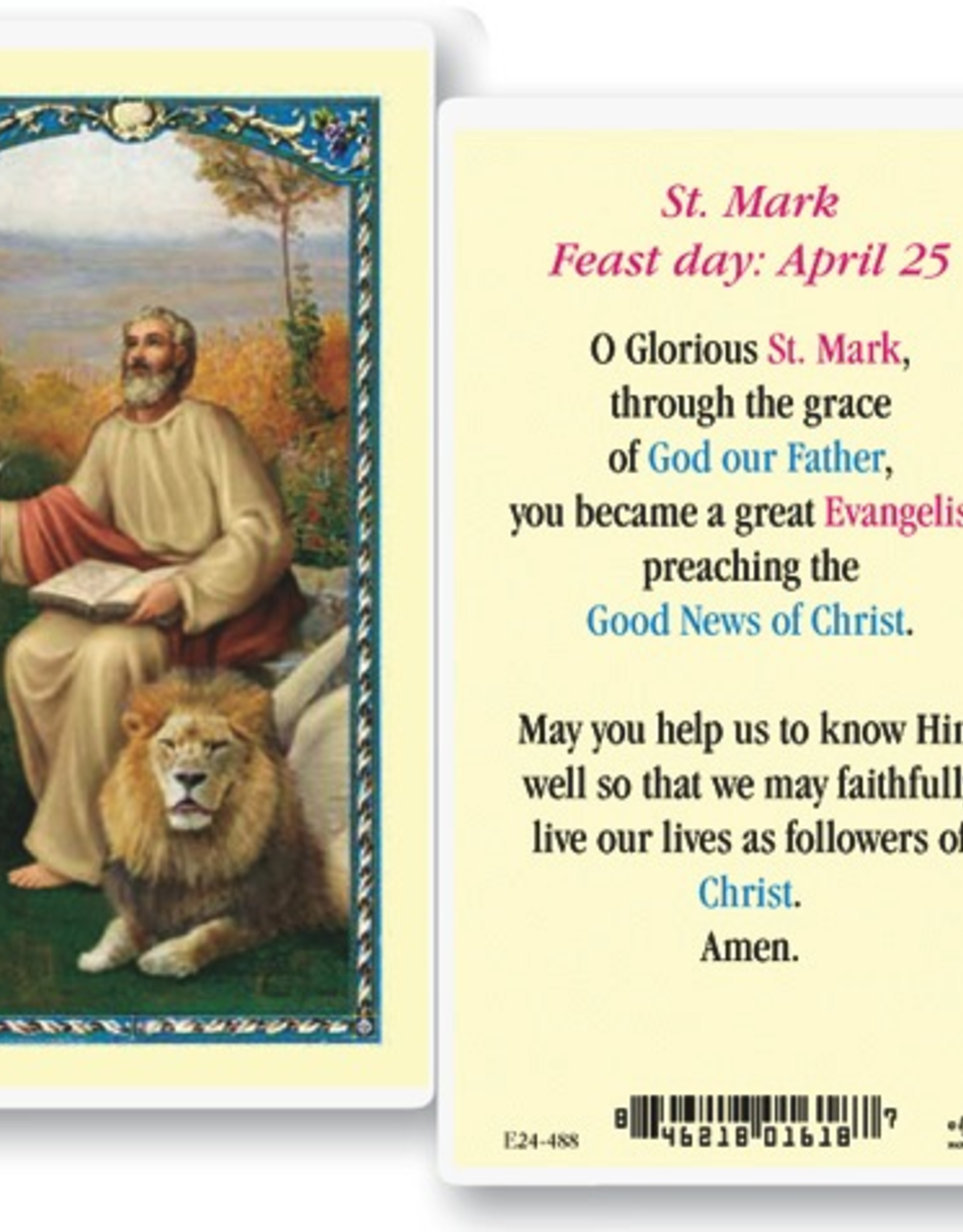 WJ Hirten St. Mark Holy Cards (25/pk)