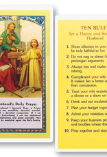 WJ Hirten Husband's Daily Prayer - Ten Rules for a Happy and Successful Husband Holy Cards (25/pk)