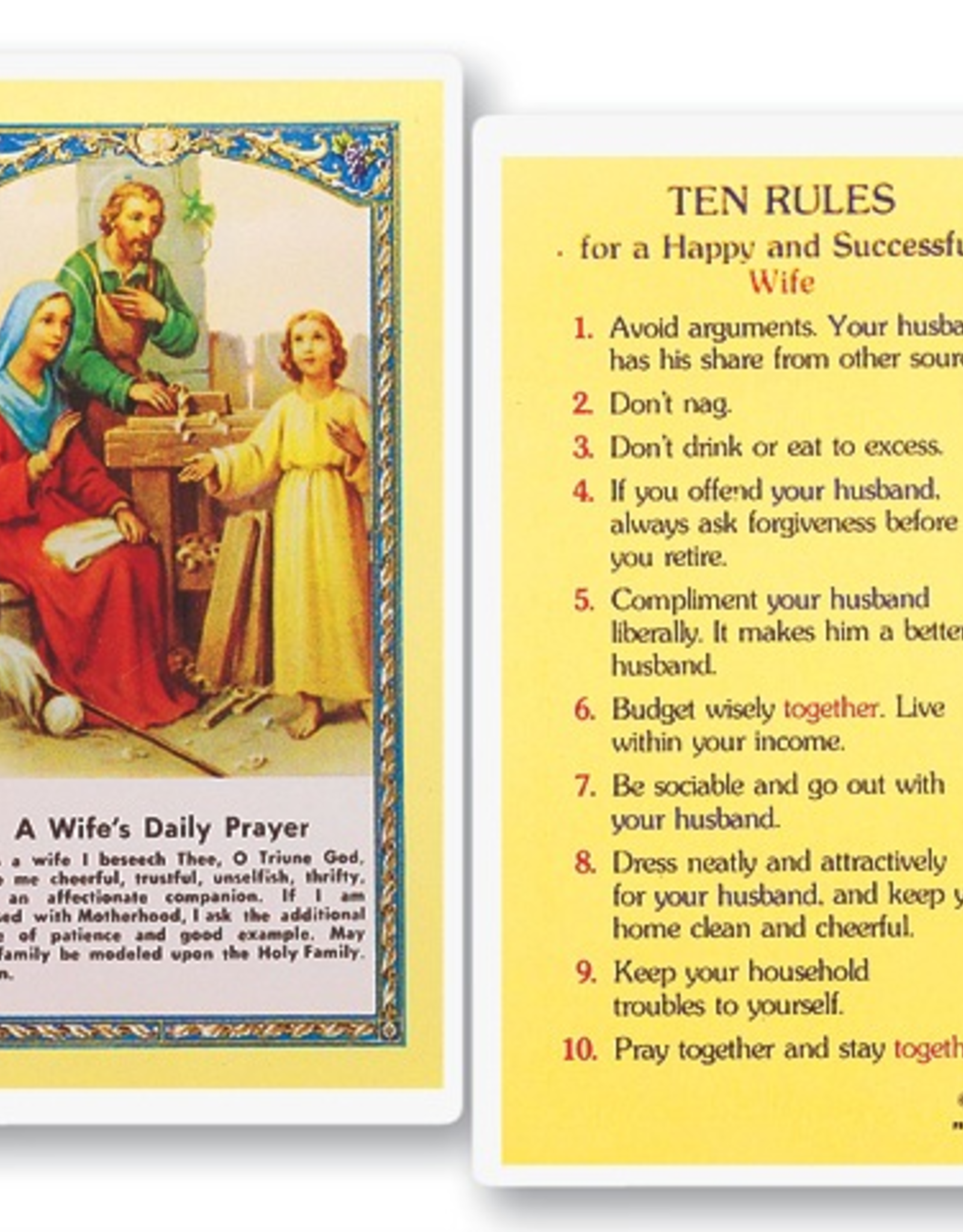 WJ Hirten Wife's Daily Prayer - Ten Rules for a Happy and Successful Wife Holy Cards (25/pk)