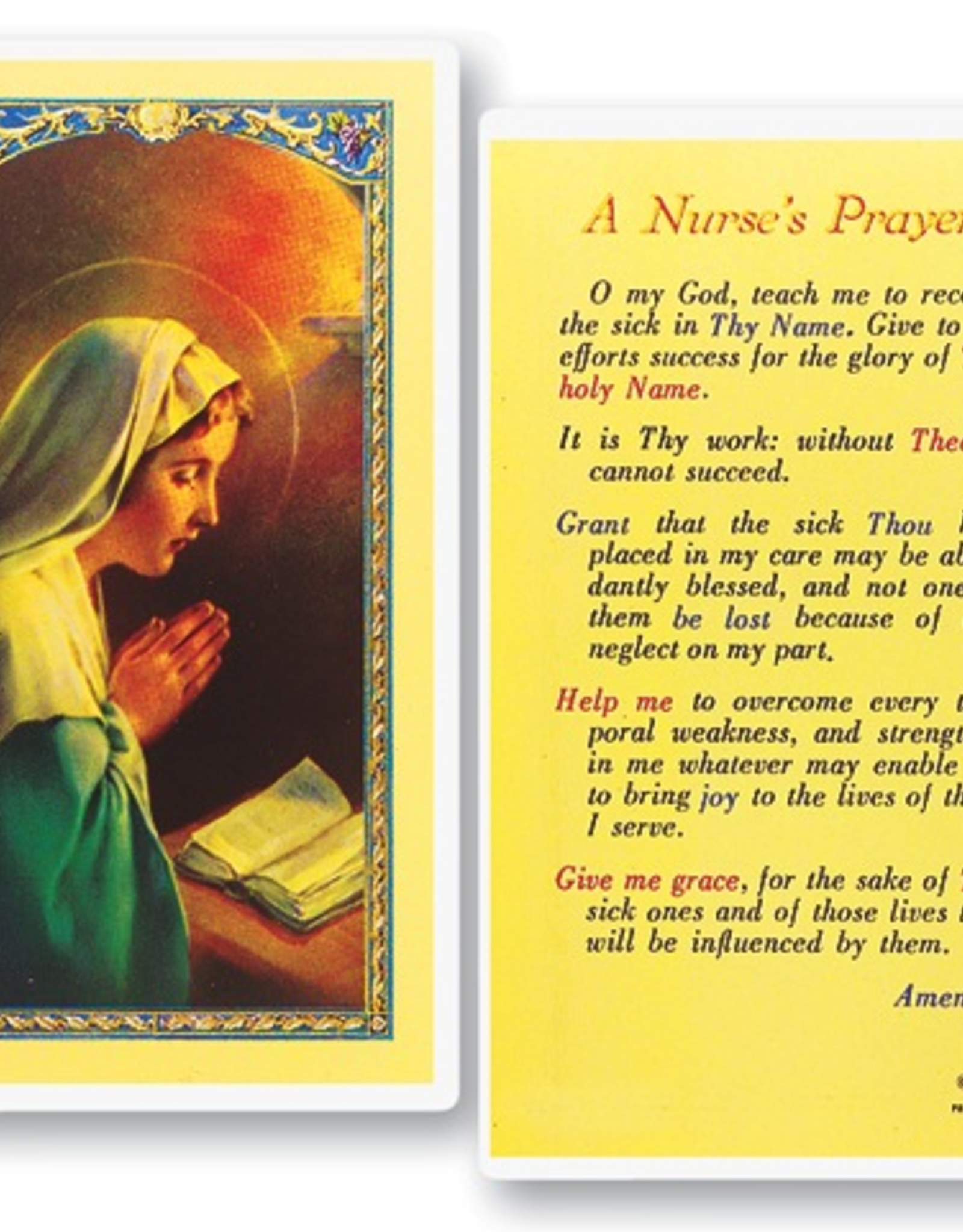 WJ Hirten A Nurse's Prayer Holy Cards (25/pk0