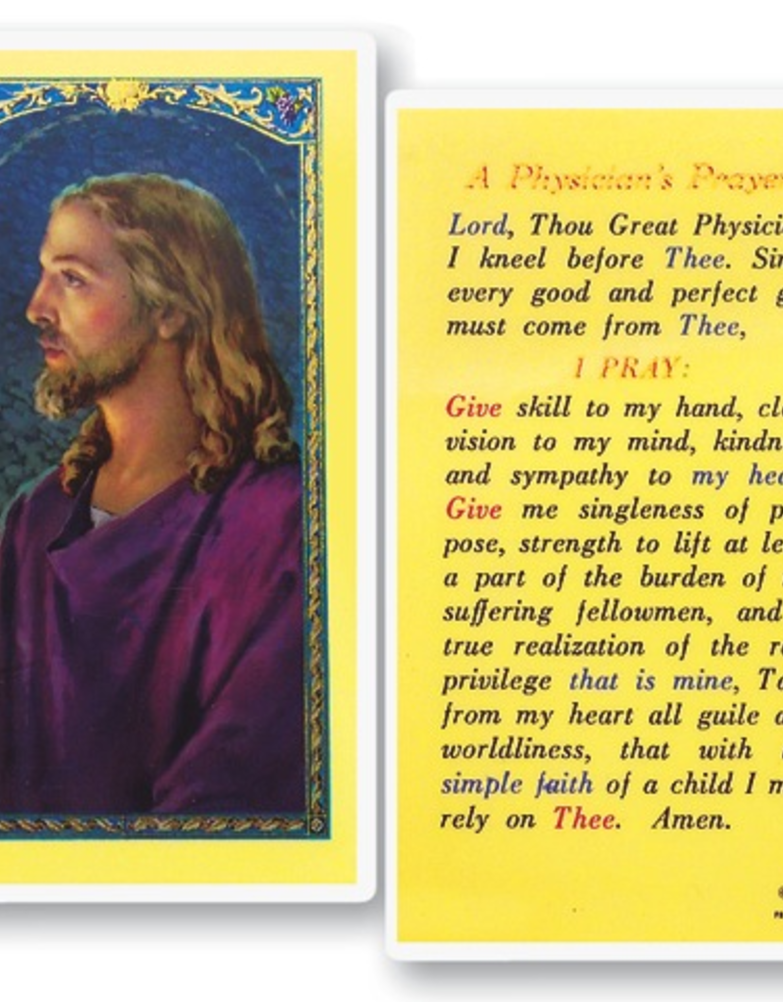 WJ Hirten A Physician's Prayer Holy Cards (25/pk)