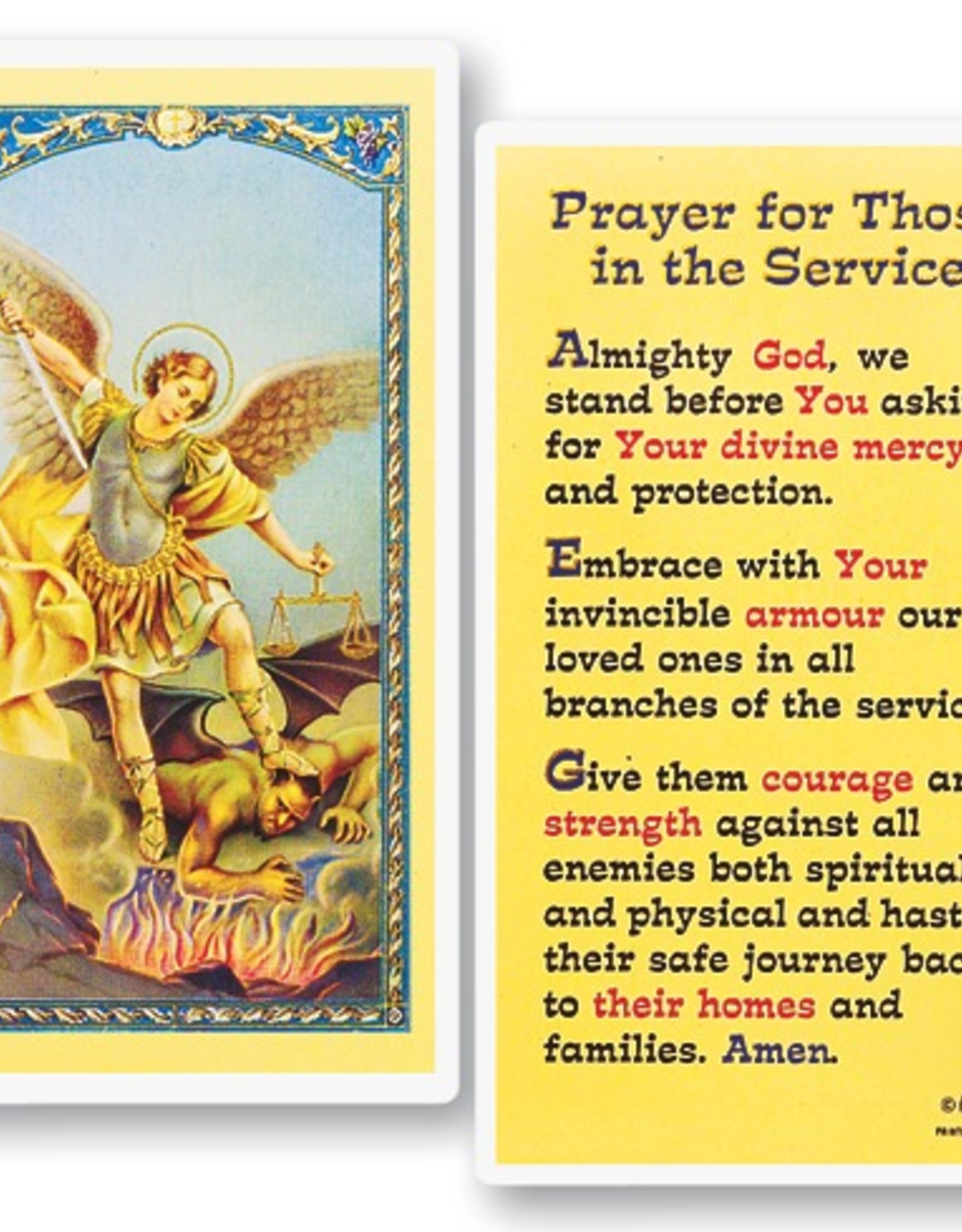 WJ Hirten Prayer for those in the Service - St. Michael Soldier's Prayer Holy Cards (25/pk)