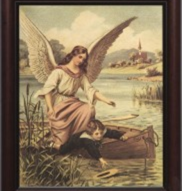 "Nelson/Catholic to the Max Guardian Angel on the Boat Framed Image in 8 x 10 "" cherry frame"