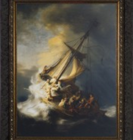 """Nelson/Catholic to the Max Storm at the Sea of Galilee by Rembrant Framed Image in Ornate Dark Frame 8 x 10"""""""