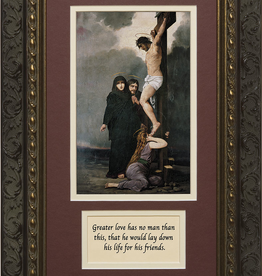 Nelson/Catholic to the Max Crucifixion of Our Lord Framed Image with Prayer in Ornate Dark Frame 8 x 14""