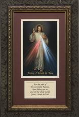 Nelson/Catholic to the Max Divine Mercy Framed Image with Prayer Dark Ornate Frame 8 x 14