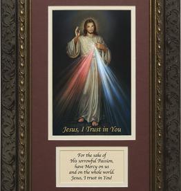Nelson/Catholic to the Max Divine Mercy Framed Image with Prayer Dark Ornate Frame 8 x 14